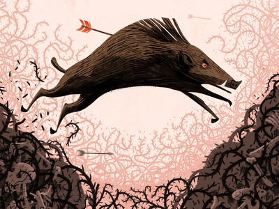 The hunt is on! thorns arrow skull hunt boar texture painting photoshop illustration