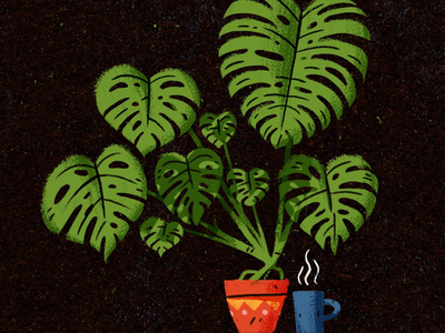 Monster plant madness illustration photoshop texture houseplant coffee deliciousmonster plant