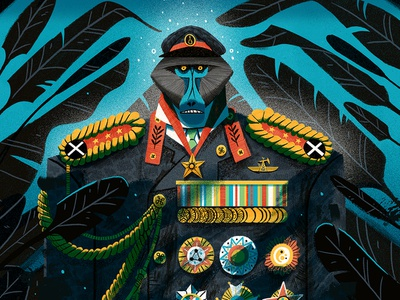 Hartlepool Dictator monkey island medals baboon monkey dictator painting textures character photoshop illustration