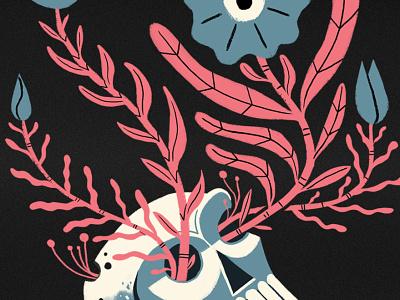 New beginnings life bones mold skull design flowers texture photoshop illustration