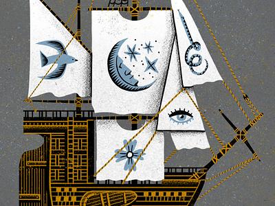 Set ship with eager sail explorers sails sailboat texture photoshop illustration