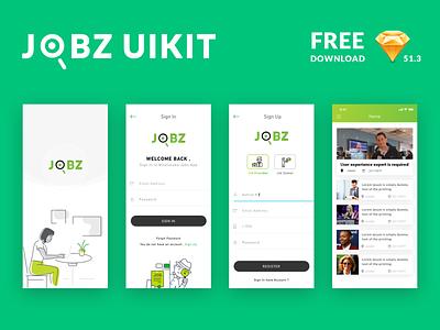Jobz Uikit - Free Download download free unlit nice work jobs splash screen login icon logo sketch app flat ios iphone x ux ui freedesign free design unlit uikits freedownload