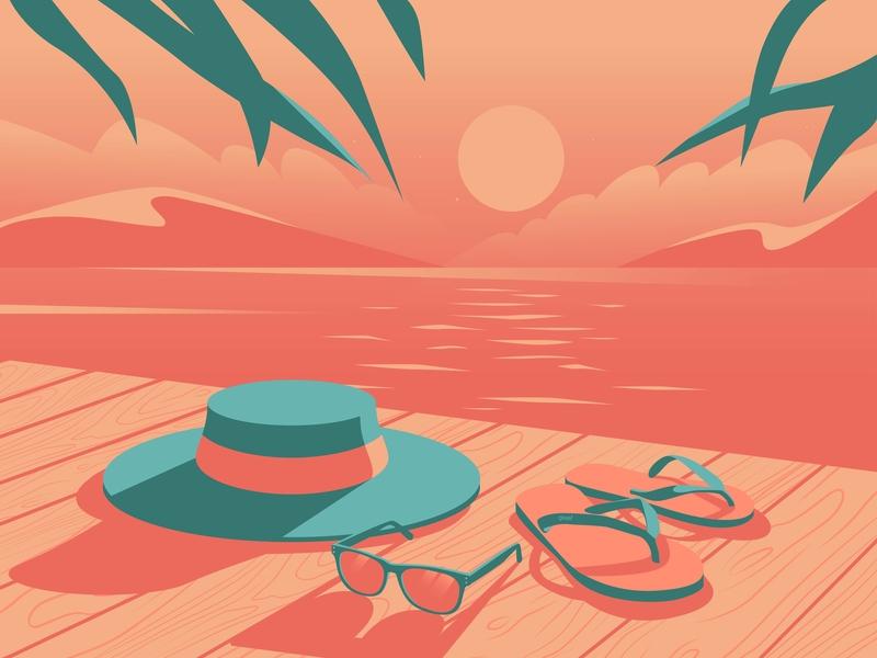 Sunset clouds sea sunset glasses eyes hat adobe illustrator adobe vector travel plant enviroment tree art illustration design