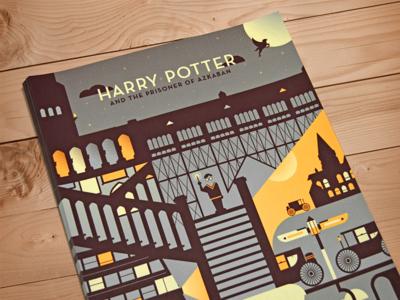 Harry Potter Poster dangerdom dominic flask illustration mid-century texture harry potter magic hogwarts vector flat halftone castle vintage cute wizard prisoner azkaban train moon buckbeak