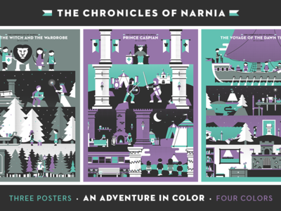 Chronicles of Narnia - All Three dominic flask dangerdom color narnia winter illustration vector flat fun lion
