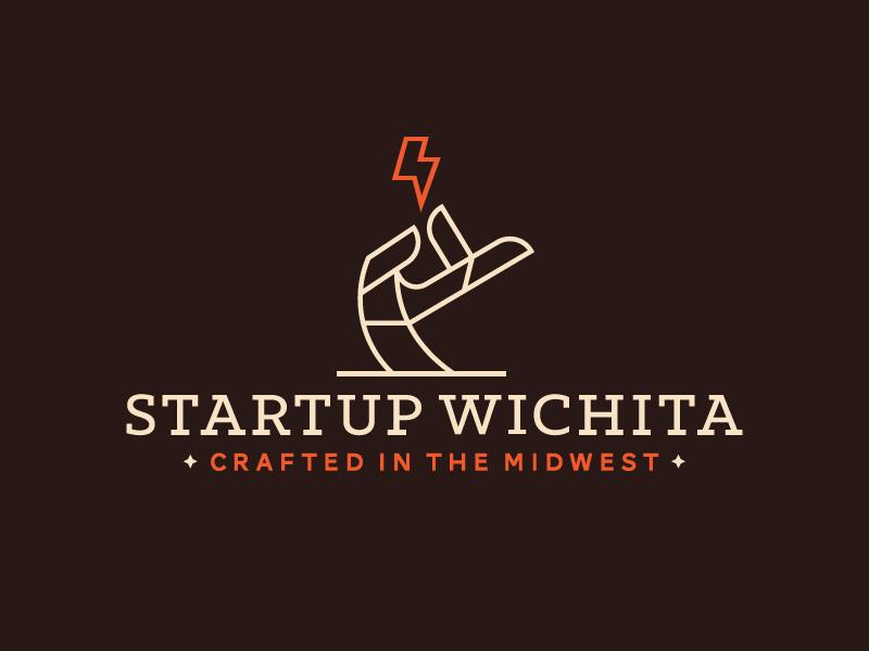Startup Wichita Logo dangerdom dominic flask logo branding identity startup hand lightning wichita line illustration