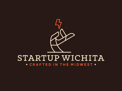 Startup Wichita Logo dangerdom dominic flask logo branding identity startup hand lightning wichita line illustration