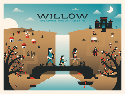 Willow Movie Poster process video dominic flask dangerdom willow movie poster screenprint illustration design flat halftone