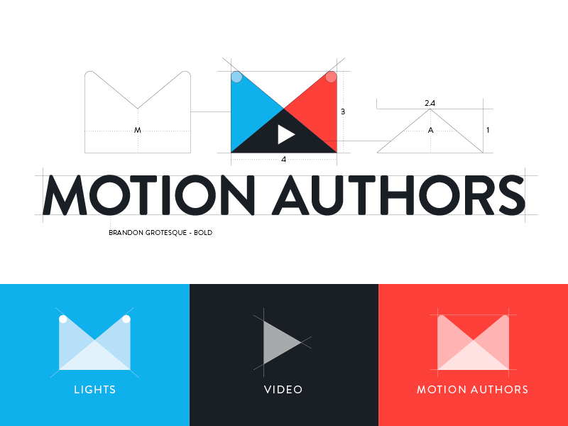 Motion Authors Logo Deconstruction motion authors video animation motion graphics logo identity spotlights play red blue geometric