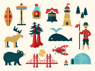 Art Deco Map Elements dominic flask dangerdom illustration vector flat fun cute bear map trees mountie