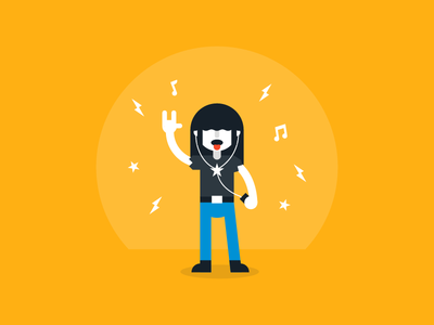 Ready to Party!! motion authors rock roll hair ipod music character design illustration flat animation