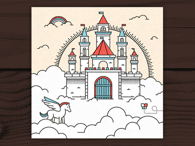 Above the Clouds dangerdom dominic flask illustration vector texture neonmob clouds castle pegasus flat rainbow colorful