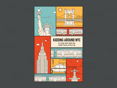 Kidding Around NYC hiremeherblester taxi liberty new york dangerdom dominic flask colorful flat vector nyc guide book illustration