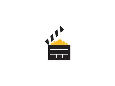 Popcorn Logo yellow director clapper identity branding design logo movie popcorn dangerdom dominic flask