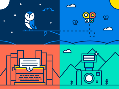 Campus Cup Odds and Ends bright vector illustration camera typewriter butterfly owl university cup campus dropbox