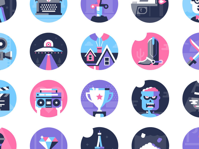 Movie Genre Icons product film icon genre movie fun badge flat design illustration dominic flask dangerdom