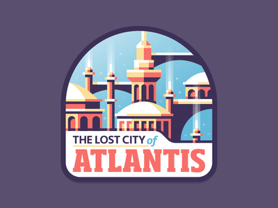 The Lost City of Atlantis scifi building city sea atlantis colorful cute fun stickers illustration dominic flask dangerdom