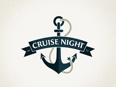 Cruise Night Updated dangerdom dominic flask logo identity branding mark typography anchor cruise night rope blue bevel