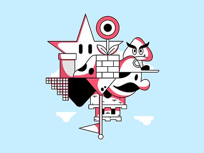 41/52 – Super Mario Bros castle goomba fun minimal vector nes mario nintendo design illustration dangerdom dominic flask