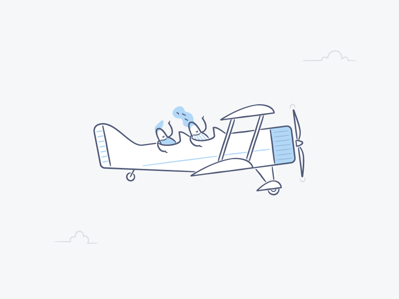 43/52 – Riding High cute fun line minimal character airplane product dropbox dominic flask illustration design dangerdom
