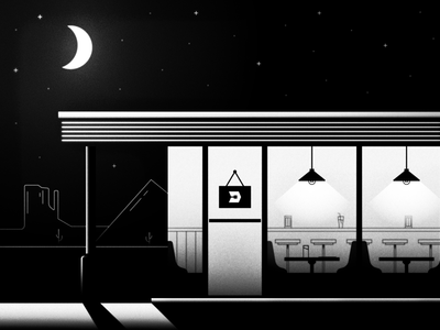 48/52 – Apply Within texture truckstop roadside cafe night moon desert freight uber illustration dangerdom dominic flask