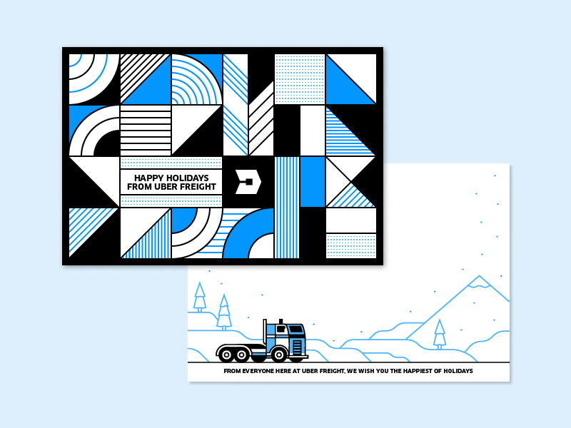 50/52 – Tis the Season For Trucking postcard vector pattern holiday winter snow truck freight uber illustration dangerdom dominic flask