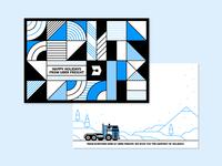 50/52 – Tis the Season For Trucking postcard vector pattern holiday winter snow truck freight uber illustration dangerdom dominic flask