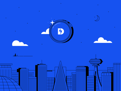 The Future Is Now space deco future city coin illustration coinbase bitcoin crypto cryptocurrency dangerdom dominic flask