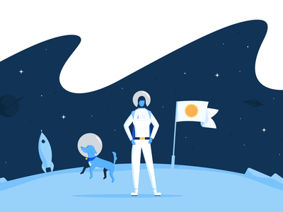 Discover Cryptocurrency coinbase crypto cryptocurrency rocket astronaut dog planet moon vector dangerdom illustration dominic flask space