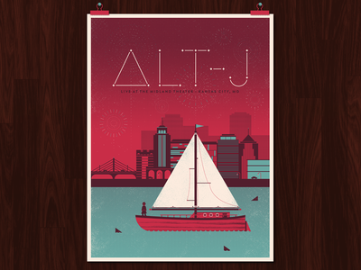 Alt-J Poster dangerdom dominic flask illustration texture mid-century flat red vector typography night boat city poster rock alt-j design fireworks kansas city stars brit maroon sharks turquoise