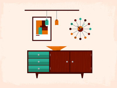 Mid-Century Living – Sideboard dangerdom dominic flask illustration mid-century flat geometry modern sideboard table clock nelson lamp painting texture color fun cute
