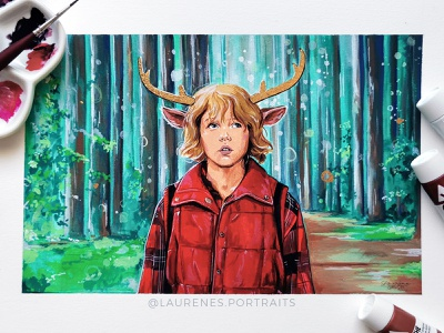Sweet Tooth design character drawing netflix gouache portrait illustration