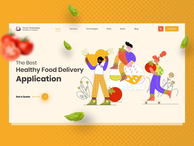 Food Delivery Landing Page website uidesign landingpage uiux yellow delivery food illustration