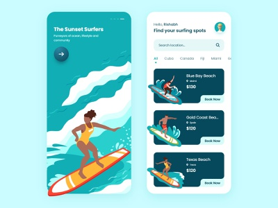 Surfing Mobile App booking illustration userinterface ui ux tecorb illustraion surfing app online mobileapp design