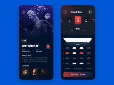 Booking Movie Tickets App mobile ux ui logo vector branding illustration movie ticket userinterface tecorb mobileapp design