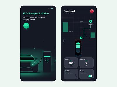 EV Charging App ui illustration vector userinterface mobileapp tecorb design uiux ux ev charging electric car branding motion graphics logo graphic design 3d animation