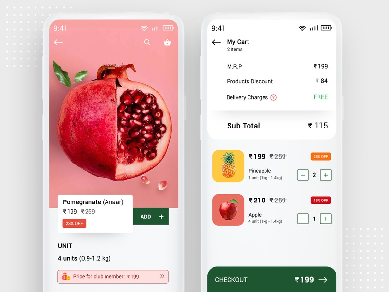 Grocery App Design clean design uidesign ios android ui store online grocery app grocery