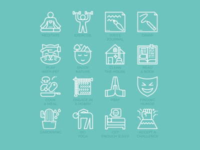 Coping Skills Icons cleaning knitting pray humor challenge sleeping reading outline yoga icon line draw write journal exercise meditate coping skills