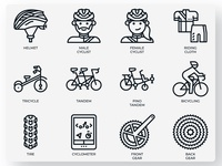 Cycling icons concept sport biker bike tire gear cyclometer tandem transportation helmet cyclist bicycling bicycle outline icon line icon icons cycling