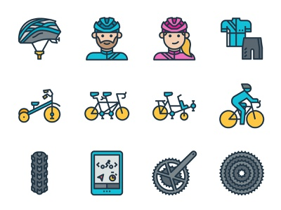 Cycling filled color icons female male avatar biker tandem tricycle app tire icon helmet outdoor sport bike bicycle cyclist cycling