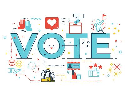Vote Word Illustration election lettering concept line icon vector illustration vote