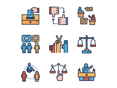 Democracy Icons outline icons line icon debate ballot political campaign president law diversity people equality feedback election democracy icon set icons