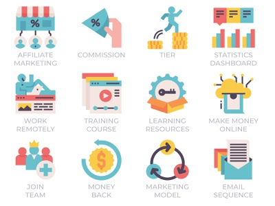 Affiliate Marketing flat model email sequence money back join team learning digital online training course wfh work form home dashboard statistics icons tier sales marketing affiliate