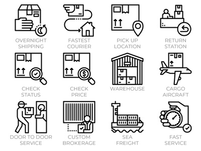 Express Delivery Service Icons postage post custom sea air freight icon set icons logistics package traking warehouse courier shipping door to door service delivery express