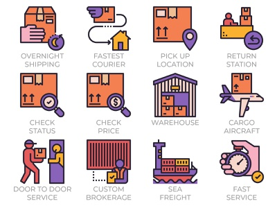 Express Delivery Service Icons Outline Color postage post custom sea air freight icon set icons logistics package traking warehouse courier shipping door to door service delivery express