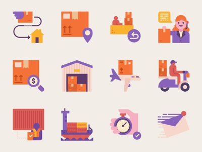 Express delivery service icon set transport shipment freight sea air fast icon cargo customer service document letter mail package courier postage post shipping service delivery express