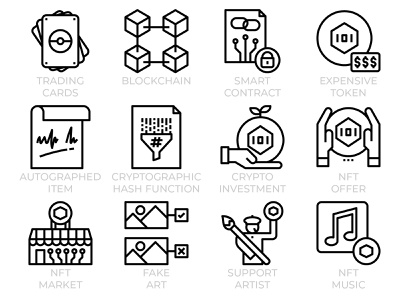 NFT - Non-fungible token icon set graphic design digital business ui web technology blockchain cryptocurrency crypto nft art conceptual outline line icon set icons nft