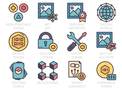 NFT(Non-fungible token) icon set in color line style art auction smart contract line icon iconset icon ui technology blockchain trading cards digital art cryptocurrency crypto token nft art non-fungible token nft