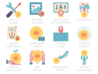 NFT - Non-fungible token flat style icon set sell buy investment illustration collectibles artist auction blockchain digital art crypto flat icon art defi non fungible token nft