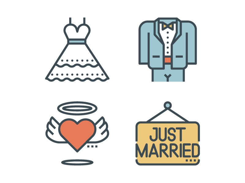 Bride Groom Wedding Icons Just Married Dress Tuxedo Heart Vintage Line Outline Icon